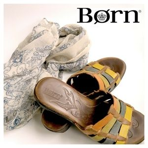 BORN Wedge Leather Colorful Sandals Straps Size 7